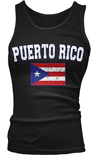 Amdesco Junior's Puerto Rico Flag, Distressed Boricua Flag Tank Top, Black Medium