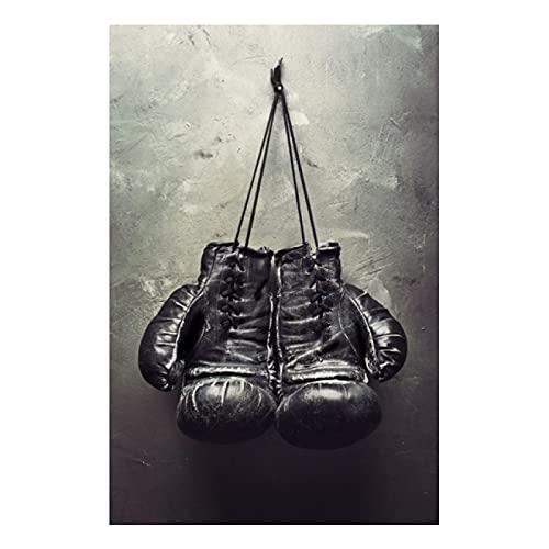 Kemeinuo Cuadros Modernos Sala de Deportes Guantes de Boxeo Lienzo Pintura Carteles Impresión Arte de la Pared Decoración del hogar 60x90cm