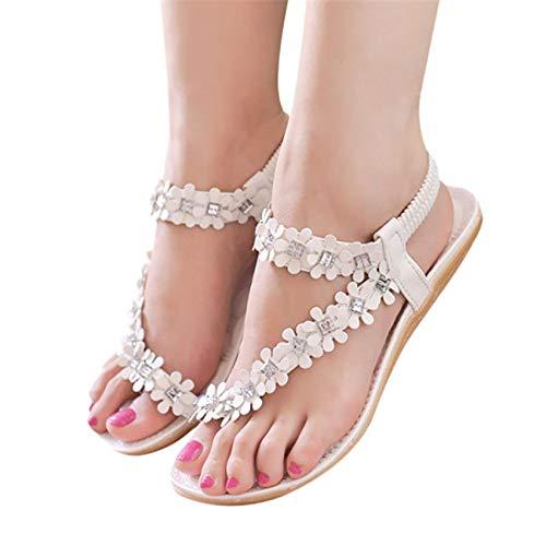 Baigoods Women Summer Bohemia Flower Beads Flip-Flop Shoes Flat White Leisure Sandals with Platforms (US;8)
