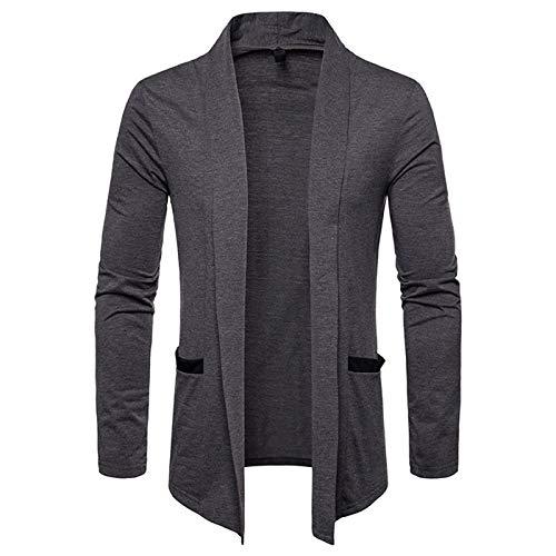 Mr.BaoLong&Miss.GO Men Knitted Cardigan Jacket Men Knitted Jacket Men Sweater Top Men New Pure Color Casual Large Size Jacket Dark Gray