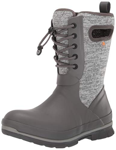 BOGS Women's Crandall Lace Knit Waterproof Insulated Winter Snow Boot, Gray Multi, 10