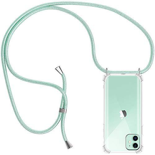 Funda con Cuerda para iPhone 11, Carcasa Transparente TPU Suave Silicona Case con Correa Colgante Ajustable Collar Correa de Cuello Cadena Cordón para iPhone 11 6.1'' - Verde Menta