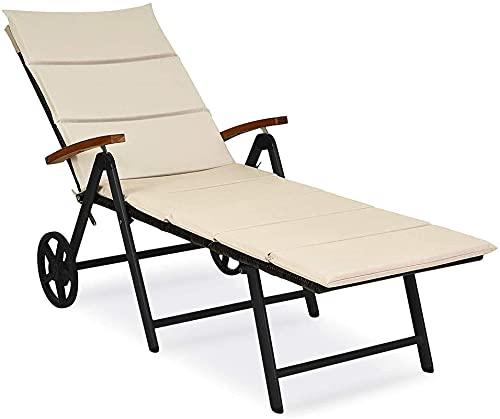 Tumbona de ratán plegable reclinable con ruedas, silla de cubierta de mimbre...