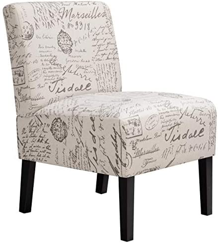 Best YAHEETECH Armless Accent Chair Letter Print Fabric Living Room Chairs Contemporary Single Sofa with