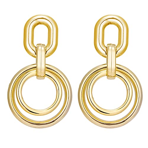FEARRIN Pendientes de Oro Vintage Pendientes de Cadena Gruesa Irregulares para Mujer Cadena geométrica de declaración Pendiente Colgante de Metal Joyería H92-K569-01