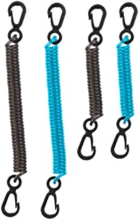Seattle Sports Dry Doc Coiled Stretch Tether Lanyard with Clip for Fishing, Keys, Tools (4-Pack Assorted)