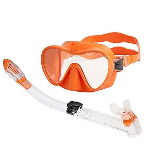 WHBGKJ Gafas de natación para niños Nuevo Moldeado de una Pieza Máscara de Buceo Gratuito Equipo Profesional Snorkel Natación Completa Tubo seco Scuba Diving Goggles Agua Profunda (Color : Orange)
