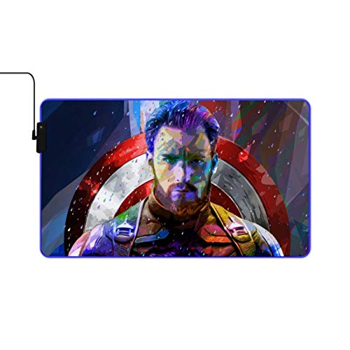 Captain-America RGB Game Mouse pad Large Scale Expansion Multiple Lighting Modes LED Soft Mouse pad Non Slip Rubber Base Suitable for pro Gamer 23.6x13.7inch Computer Keyboard Mouse