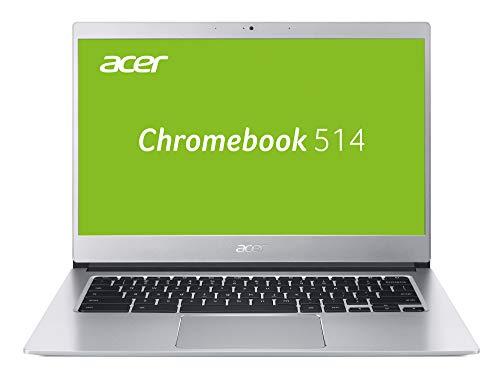 Acer Chromebook 514 Notebook (14 Zoll Full-HD IPS matt, Aluminium Unibody, 17mm flach, extrem lange Akkulaufzeit, schnelles WLAN, beleuchtete Tastatur, Google Chrome OS) Silber