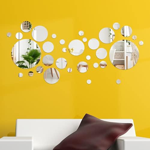 36 Piezas Hojas Flexibles de Espejo Azulejos Autoadhesivos de Espejo sin Vidrio Espejo Acrílico Extraíble para Decoración de Dormitorio Sala de Estar Hogar (Redondo)