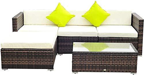 Cinco piezas de muebles de ratán suite de jardín sofá al aire libre combinación de mesa de café, blanco,White