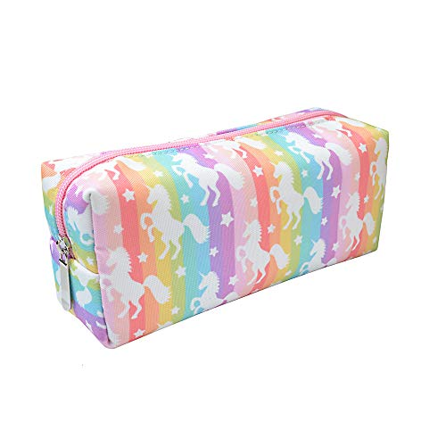 Rantanto Canvas Pencil Holder Case Pen Stationary Pouch Cosmetic Makeup Bag (CPH005 Rainbow Unicorn)