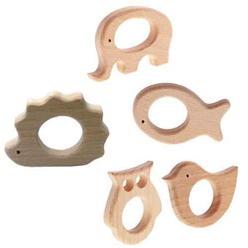 5 Stücke Babypflege Schmuck Bei?ring aus Holz für Kleinkind - Kinderspielzeug