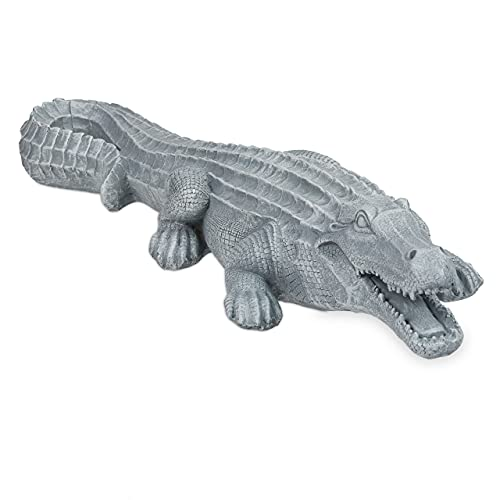 Relaxdays Krokodil Deko, Garten und Teich, Polyresin, HxBxT: 12 x 23 x 73 cm, wetterfest, detailliert, Gartenfigur, grau