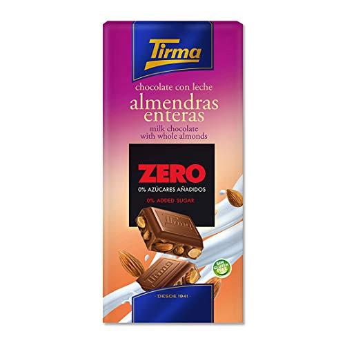 Tirma Chocolate ZERO con Leche y Almendras - Sin Azúcares Añadidos, 125g