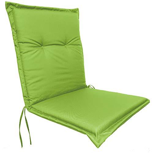 JEMIDI - Cojín impermeable para silla de jardín con respaldo bajo, 100 cm x 50 cm x 5 cm, verde