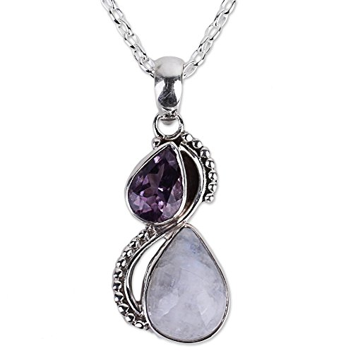 "NOVICA Amethyst Rainbow Moonstone .925 Sterling Silver Pendant Necklace, 18"" 'Two Teardrops'"