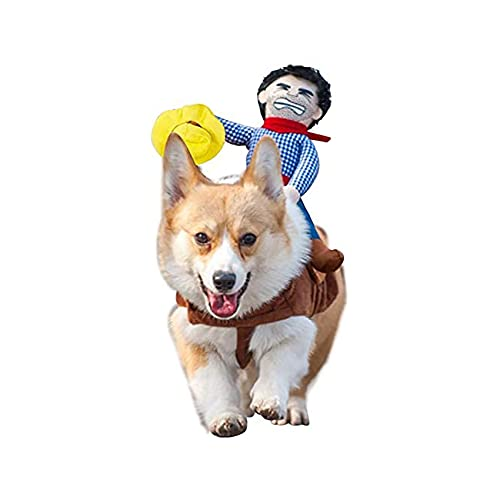 T2Y Cowboy Rider Dog Costume - Halloween Dog Costumes for Medium and Large Dogs, Dogs Clothes Knight Style with Doll and Hat for Halloween Day Pet Costume(Medium)