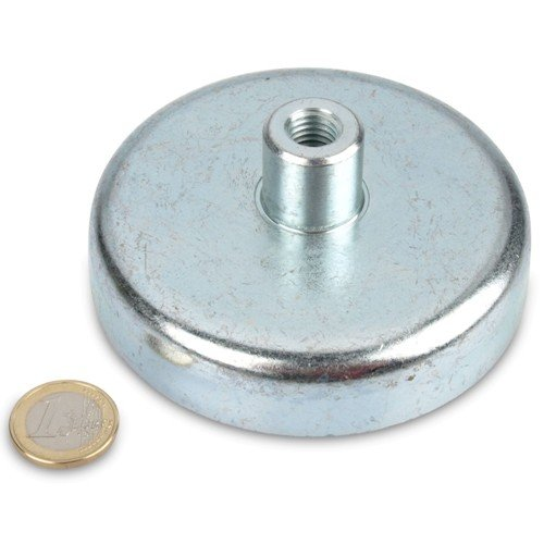 Ferriet platte grijper Ø 100,0 x 22,0 mm, bus M12, 91 kg, verzinkte stalen pan, bruikbaar tot 200 °C, magneet schroefdraad bus