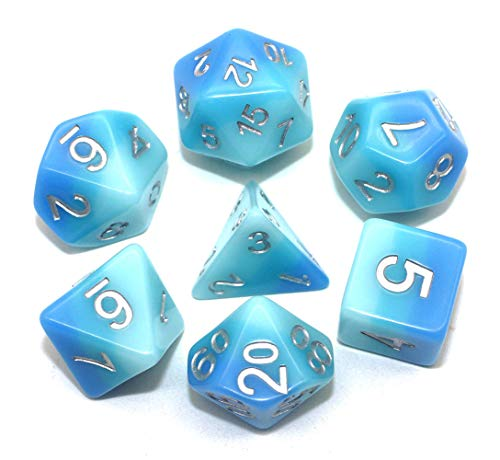 HD Dice Resin DND Dice Fit Dungeons and Dragons(D&D) RPG Pathfinder Role Playing Games 3 Layers Blue Polyhedral Dice Set with Bag