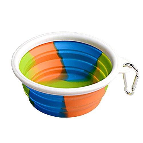 QIEP Cuenco plegable para perro plegable plegable Plato de taza expandible para mascotas Cat Alimentación de agua portátil Travel Bowl Free Mosquetón (blanco)