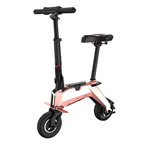YUN&BO Bicicleta eléctrica Plegable, de 8 Pulgadas de Peso Ligero Scooter eléctrico E-Bici para Hombres y Mujeres Adultos, 350W Motor, 36V de Iones de Litio,Oro