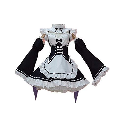 Anime Ram/Rem Re: Zero Re Life In a Different World Disfraz de Cosplay Costume Halloween Carnival Maid Apron Dress Trajes Princess Dress Set Completo