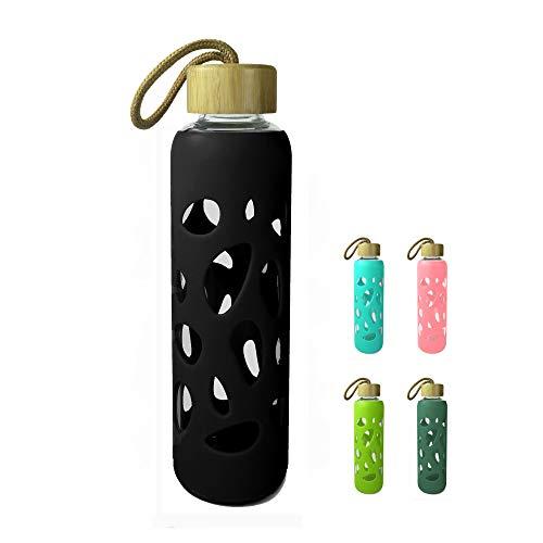 Wenburg Cantimplora Botella de Cristal con Tapa de bambú 550 ml, Cubierta de Silicona. Botella Deportiva/Botella de Agua de Vidrio. para Llevar. para té, Agua, Batidos (Negro, 0,55 l)