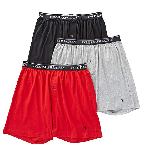 Polo Ralph Lauren Classic Fit Cotton Boxers 3-Pack, L, Black/Red/Grey