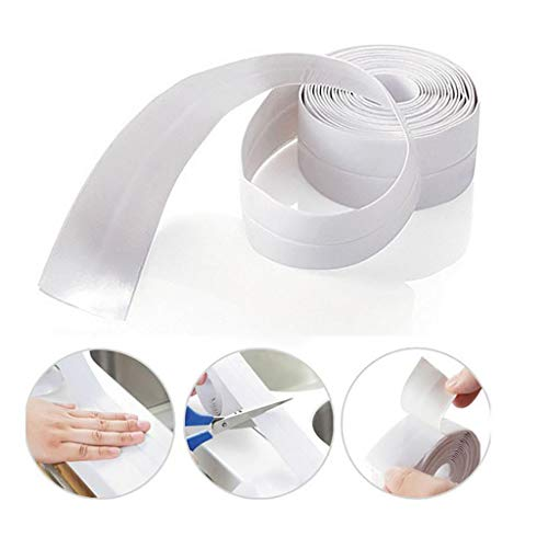 Fine Bathtub Wall Sealing Tape,Caulk Strip Self Adhesive Waterproof Sealing Tape Strip Caulk Sealer Decorative Trim for Kitchen Bathroom Shower Toilet Wall Corner (White A)