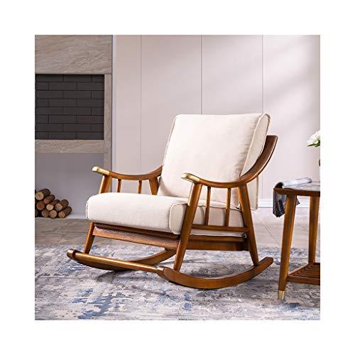 YDLOP Silla Mecedora nórdica con sofá, sillón de Tela de Madera Maciza, sillón Individual...