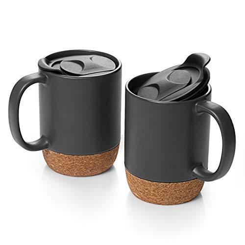 DOWAN Kaffeetassen Set, mit 425ml 2,15 Unzen Keramikbecher mit isoliertem Korkboden und spritzwassergeschütztem Deckel, großer Kaffeebecher mit Griff für Männer, Frauen, Mattschwarz