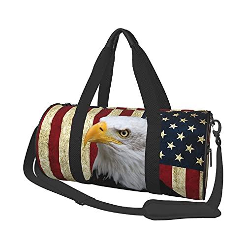 Risating Reisetasche Sporttasche USA Flagge Adler Runde Crossbody Duffel Bag Leichte Faltbare Wochenendtasche für Damen Herren