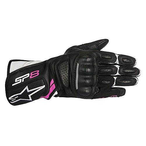 Alpinestars Motorrad Leder-Handschuhe Stella SP-8 V2 - Schwarz Weiß Fuchsia, X-Small