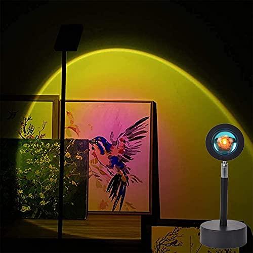 ZGHN Lámpara De Proyección del Atardecer, Lámpara De Proyector De Rotación De 180 Grados Lámpara De Puesta De Sol Romántica con Carga USB para Familiar Luz para Parejas D Sun