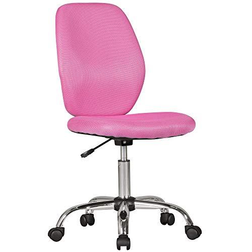 Amstyle Emma roze vanaf 6 met leuning draaistoel kinderbureaustoel ergonomisch | jeugdstoel in hoogte verstelbaar | kinderbureaustoel zonder armleuning, stof, roze, 64 x 94 x 47 cm