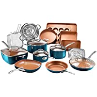 20 Piece Gotham Steel Cookware + Bakeware Set with Nonstick Durable Ceramic Copper Coating (Turquoise)
