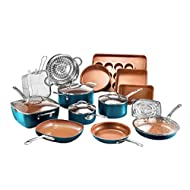 Gotham Steel Cookware + Bakeware Set with Nonstick Durable Ceramic Copper Coating – Includes Skillets, Stock Pots, Deep Square Fry Basket, Cookie Sheet and Baking Pans, 20 Piece, Turquoise