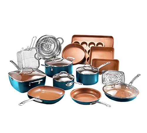 Gotham Steel Cookware + Bakeware Set with Nonstick Durable Ceramic Copper Coating – Includes...