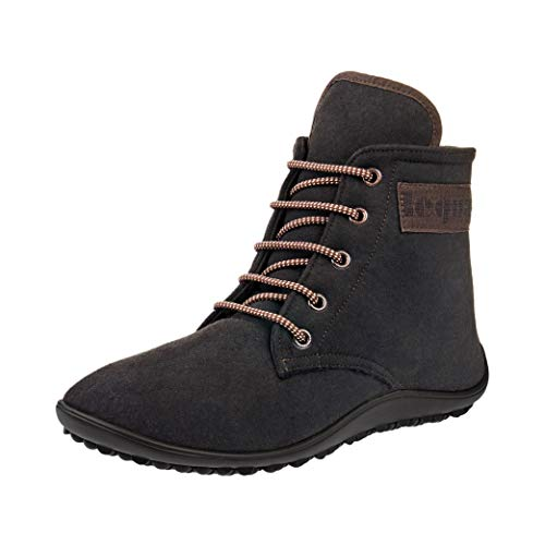Leguano Chester Barefoot Boot | Lightweight and Flexible Minimalist Footwear | Slip Resistant Cold Weather Shoes Dark Brown