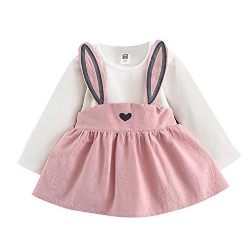 Longra Herbst Baby Kinder Kleinkind Mädchen Kleidung Kaninchen Prinzessin Kleid Mädchen Langarm Bandage Anzug Mini Kleid(0-36Monate) (70CM 6-12Monate, Pink)