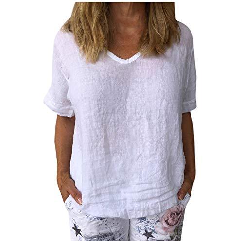 Masrin Damen Tops Vintage Sonnenblume Katze gedruckt T-Shirt Sommer O-Ausschnitt Kurzarm Pullover Lose Baumwolle und Leinen Tunika Bluse (L,Z2 Weiß)