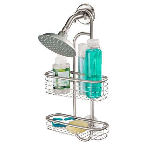 iDesign panier de rangement à suspendre, petit valet de douche en acier inoxydable pour shampoings et gels douches, panier de bain avec 2 compartiments, argenté