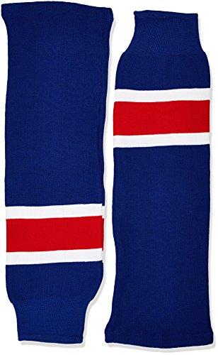 SCHANNER - Erwachsenen Hockeystutzen NHL Senior I Schienbeinschutz I Stutzen für Hockeyspieler I Eishockey-Stutzen I ideale Passform I 100% Polyester - Blau/Weiß/Rot