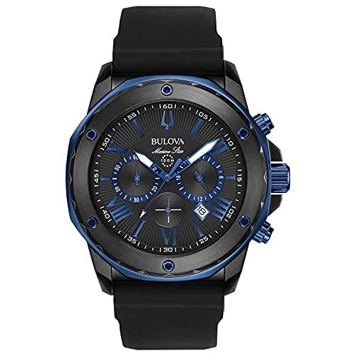 Bulova Reloj de vestir para hombre con correa de silicona de acero inoxidable, estilo Marine Star, color negro, 24 (modelo: 98B308)