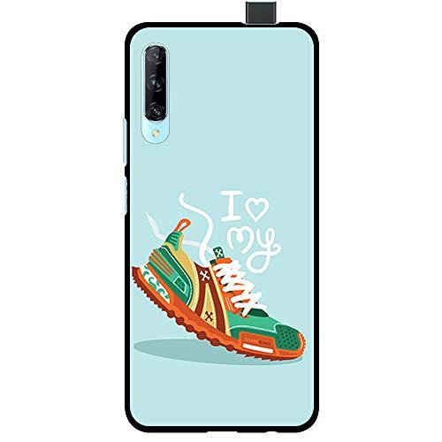 BJJ SHOP Schwarz Hülle für [ Huawei P Smart Pro ], Klar Flexible Silikonhülle, Design: Ich Liebe Meine Turnschuhe