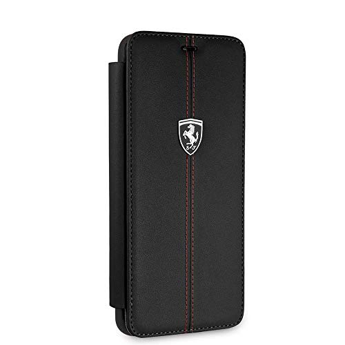 Ferrari Wallet Case for Samsung Galaxy S9 Hard Case Genuine Leather with Business Card Holder/Debit or Credit Card Slots Easy Snap-on Shock Absorption Cover Officially Licensed.(Black)