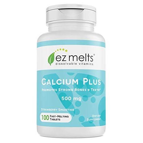 Amazon.com: EZ Melts Calcium Plus with Vegan D3 and Magnesium, 500 mg, Sublingual Vitamins, Vegan, Zero Sugar, Natural Strawberry Flavor, 100 Fast Dissolve ...