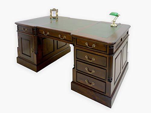 Schreibtisch Partnerdesk Büromöbel Antik Stil mit grüner Lederauflage B: 180 cm (2917)