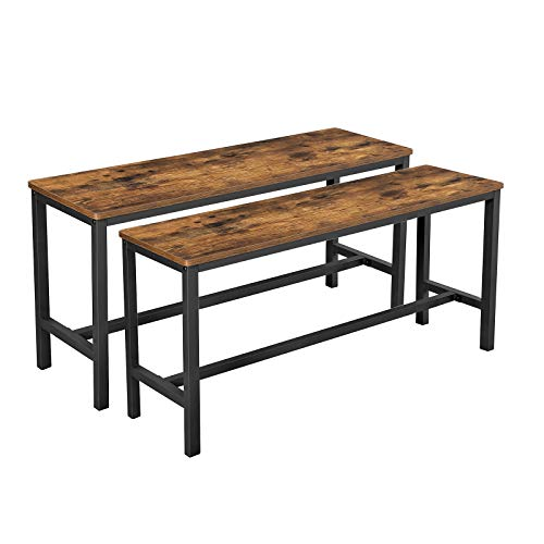 VASAGLE Dining Bench, Table Bench Set,Pair of 2, Industrial Style Indoor Benches, 42.5 x 12.8 x 19.7 Inches, Durable Metal Frame, for Kitchen, Dining Room, Living Room, Rustic Brown UKTB33X